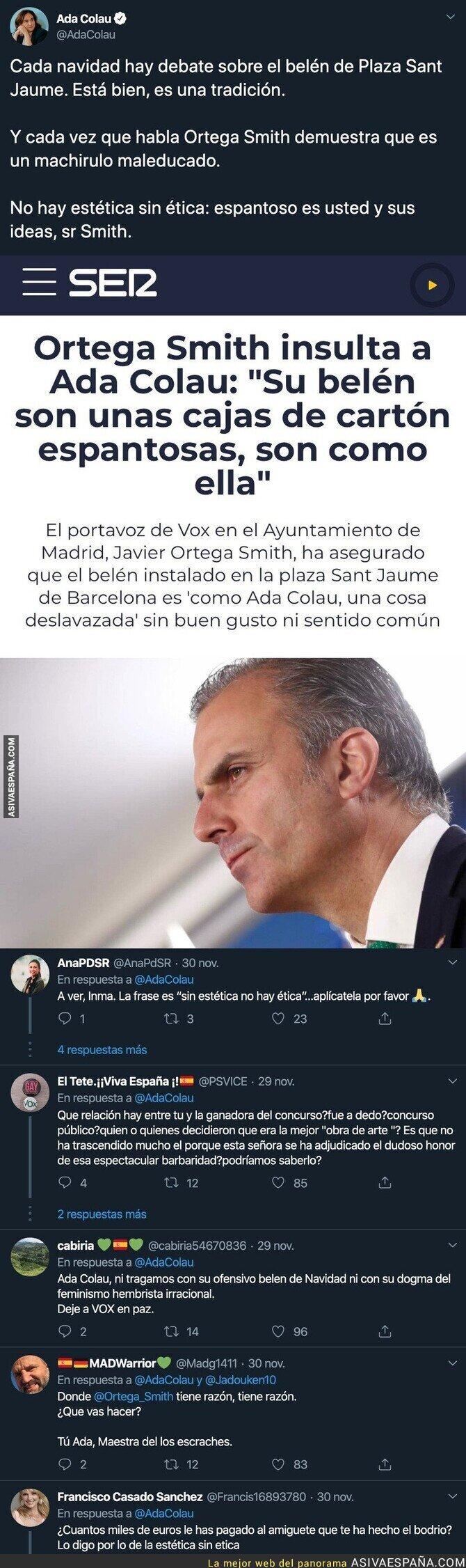 128713 - Ada Colau responde de forma tajante a Javier Ortega Smith tras criticar el belén que ha colocado el Ayuntamiento de Barcelona
