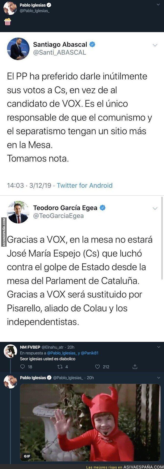 128888 - Pablo Iglesias se cachondea de VOX y PP en el primer día del Congreso tras pelearse de esta forma infantil