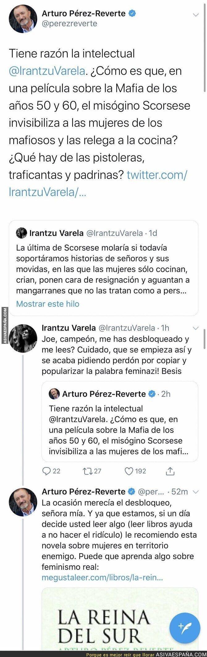 129008 - Arturo Pérez-Reverte repartiendo ZASCAS sin parar cuando le hablan de feminismo a raíz de la última película de Scorsese
