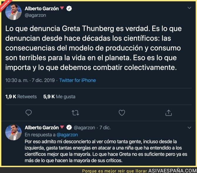 129179 - La aplaudida reflexión de Alberto Garzón sobre Greta Thunberg