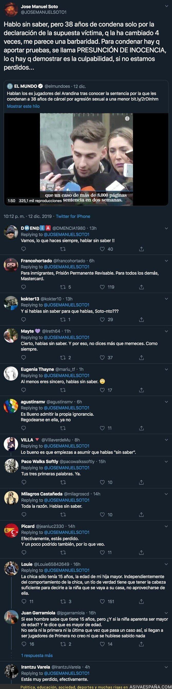 129678 - José Manuel Soto estalla tras la condena a los exjugadores de la Arandina y todo Twitter está contra él