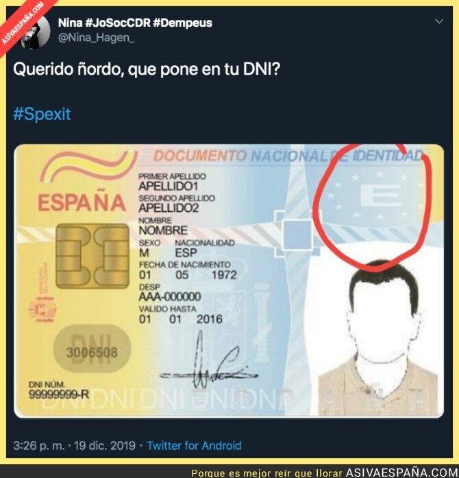 130022 - ¿Qué pone en tu DNI patriota español que quiere irse de la Unión Europea?