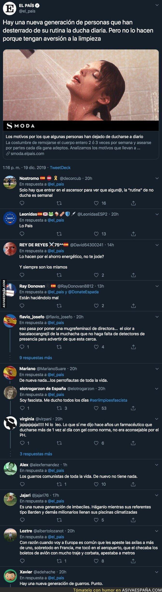 130049 - La nueva moda de no ducharse según 'El País'