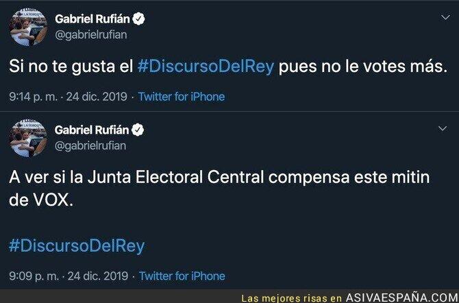 130385 - Los tuits de Gabriel Rufián durante Nochebuena que hizo enfadar a la gente de derechas