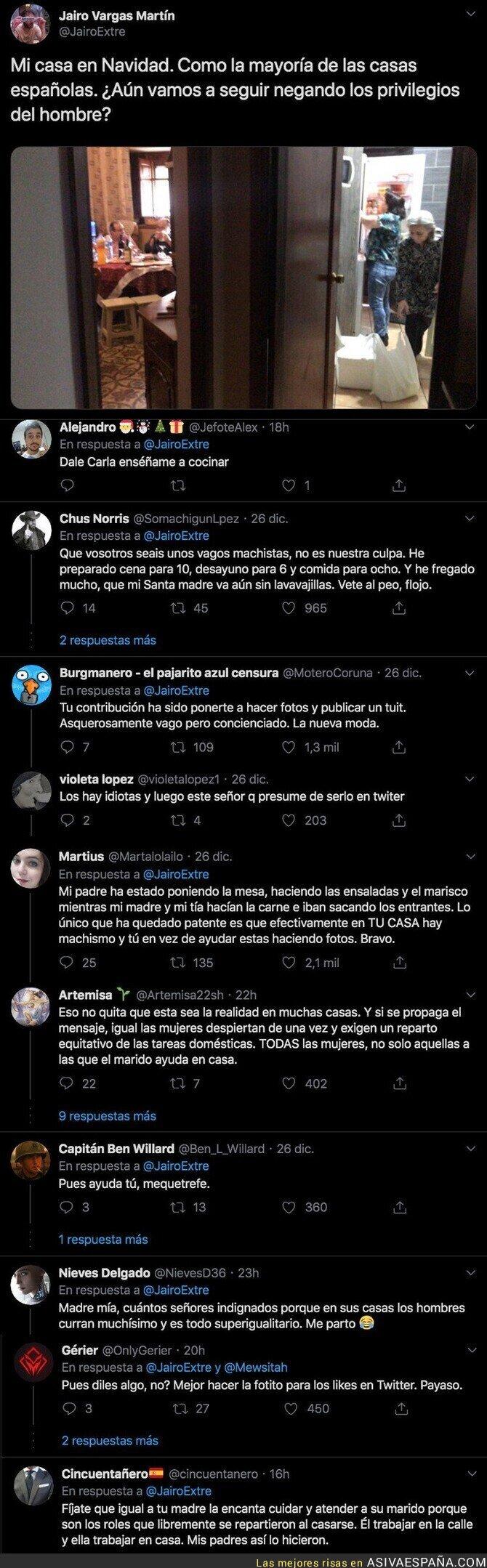 130450 - Intenta demostrar que en las casas españolas hay machismo y todo el mundo en Twitter le crucifica