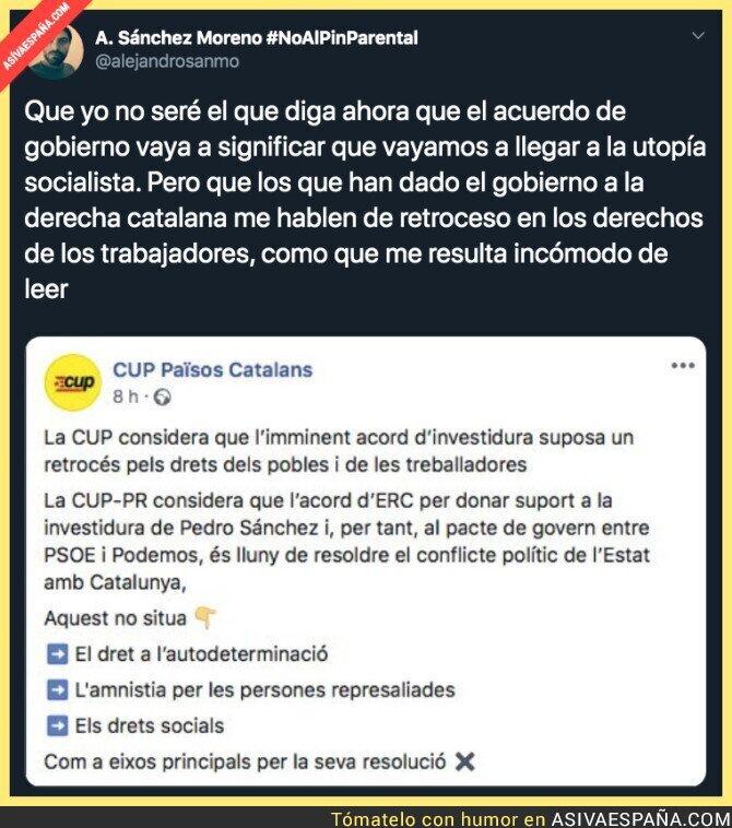 130945 - La CUP contra el acuerdo de ERC con PSOE y Podemos para formar Gobierno de coalición