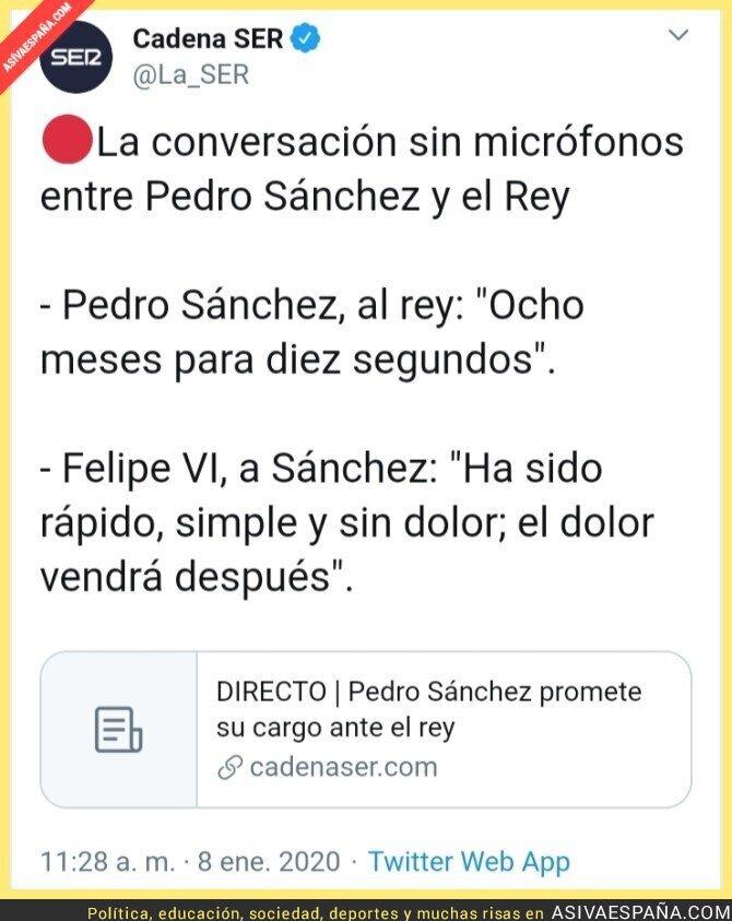 131494 - El rey bromea con Pedro Sánchez sobre su gobierno