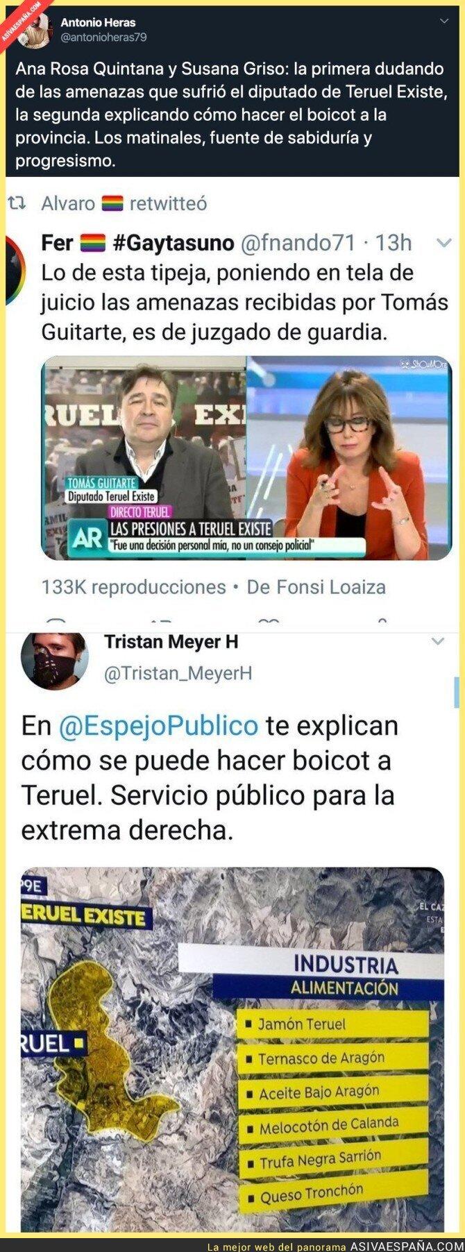 131560 - Los matinales en las televisiones privadas a tope contra Teruel