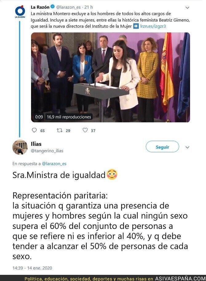 132084 - La primera acción de Irene Montero como ministra de Igualdad, es incumplir la ley de Igualdad