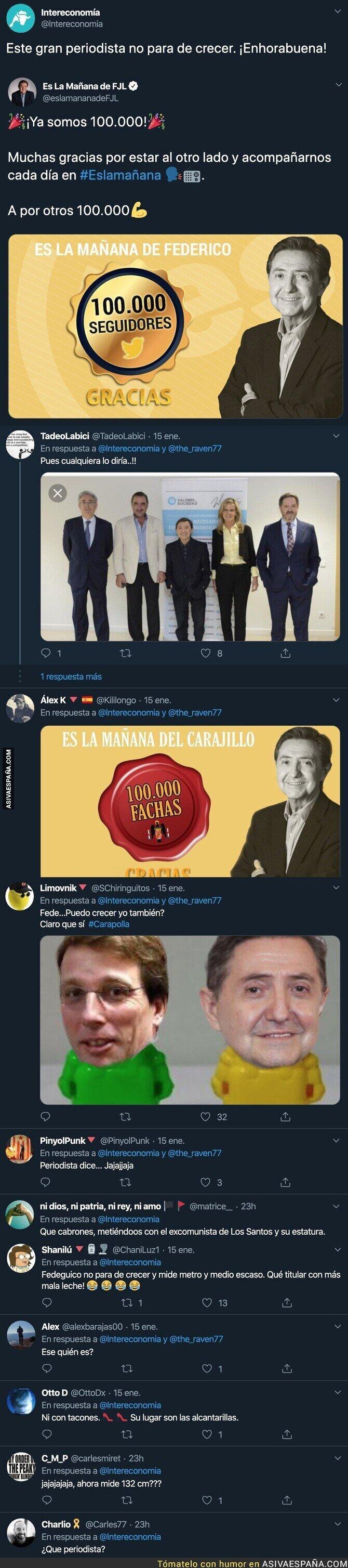 132153 - Cachondeo por este mensaje de Intereconomía felicitando a Federico Jiménez Losantos por los 100.000 seguidores