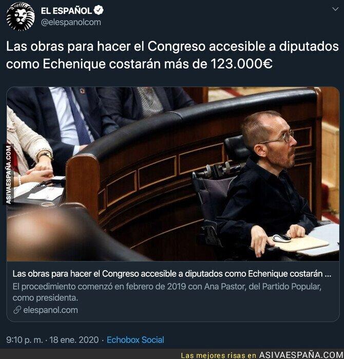 132426 - El lamentable titular de 'El Español' sobre las obras que habría que hacer en el Congreso para personas con dificultad de movilidad