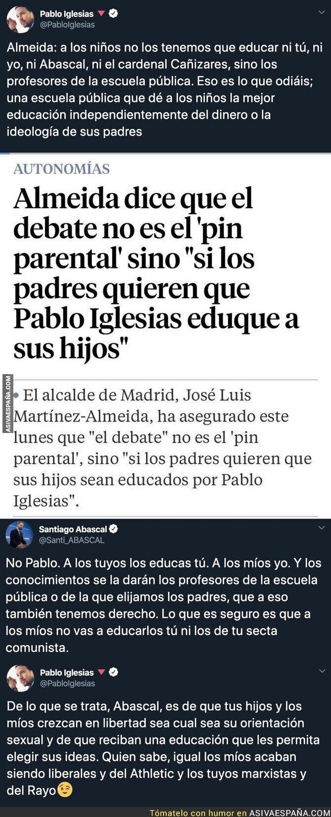 132543 - Santiago Abascal se enzarza en Twitter con Pablo Iglesias por el PIN Parental y el de Podemos sale como claro ganador