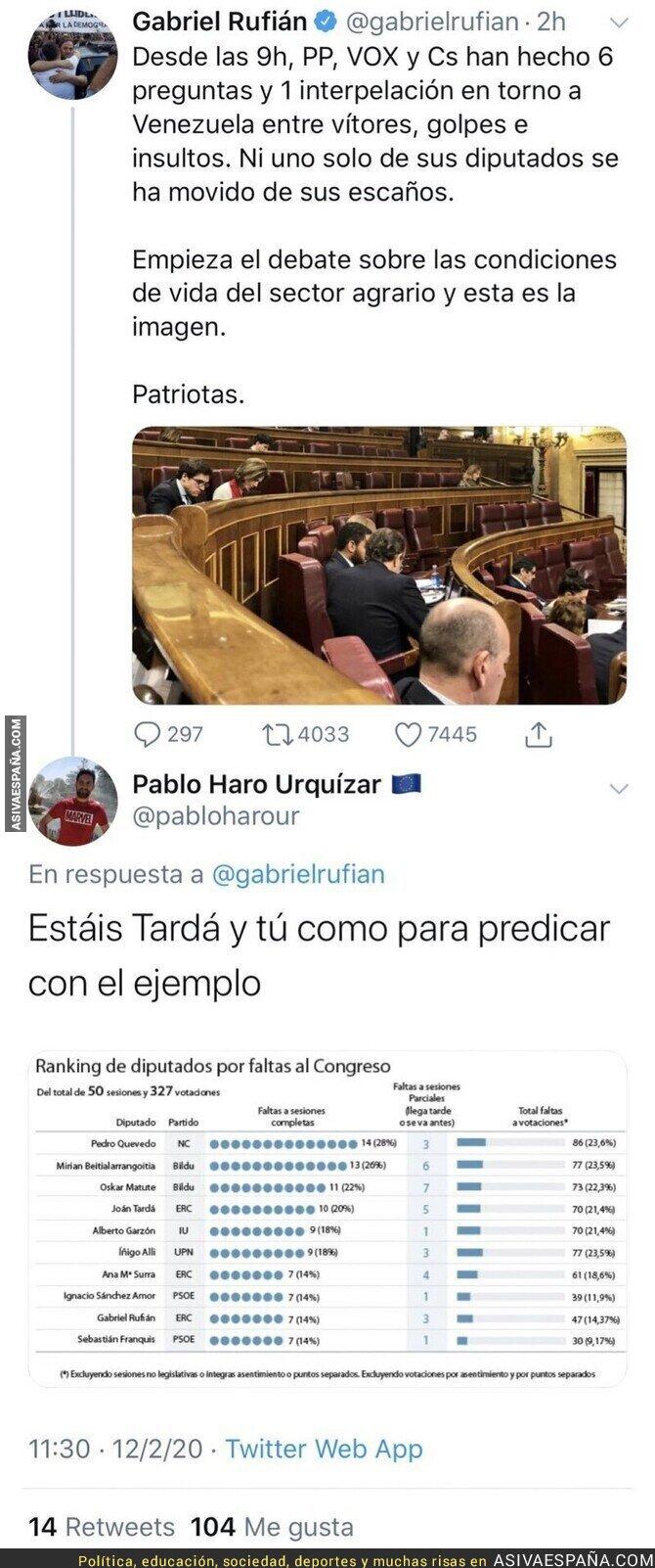 135066 - Gabriel Rufián no es el más indicado para hablar de la gente que falta en el Congreso