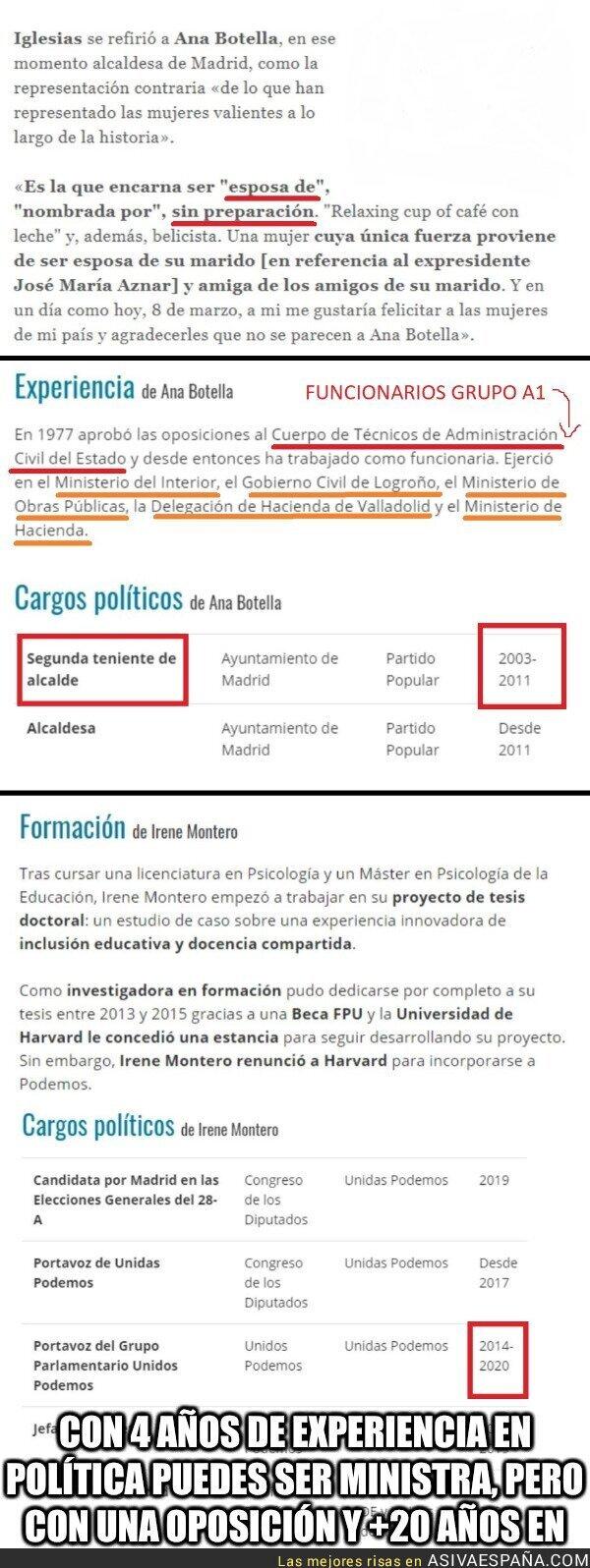 135736 - Nos dicen que Irene Montero SÍ pero que Ana Botella NO...