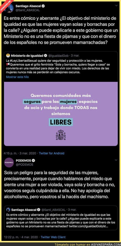 136968 - La respuesta apoteósica de Podemos a Santiago Abascal por la nueva Ley de Libertad Sexual