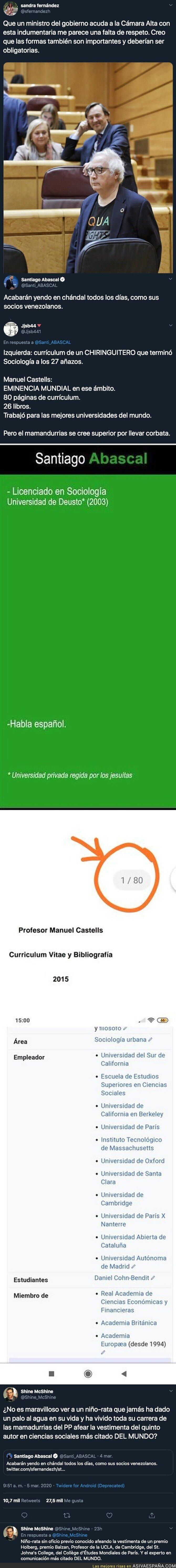 137044 - Santiago Abascal critica el look del Ministro de Universidades, Manuel Castells, y sale totalmente escaldado