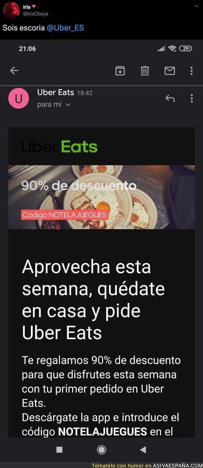 137341 - Uber Eats aprovechándose de forma rastrera de la crisis del coronavirus