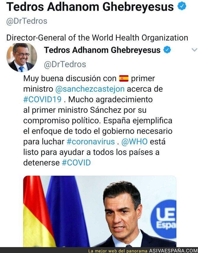 137652 - El Director General de la OMS alaba a España y la gestión del gobierno como referencia