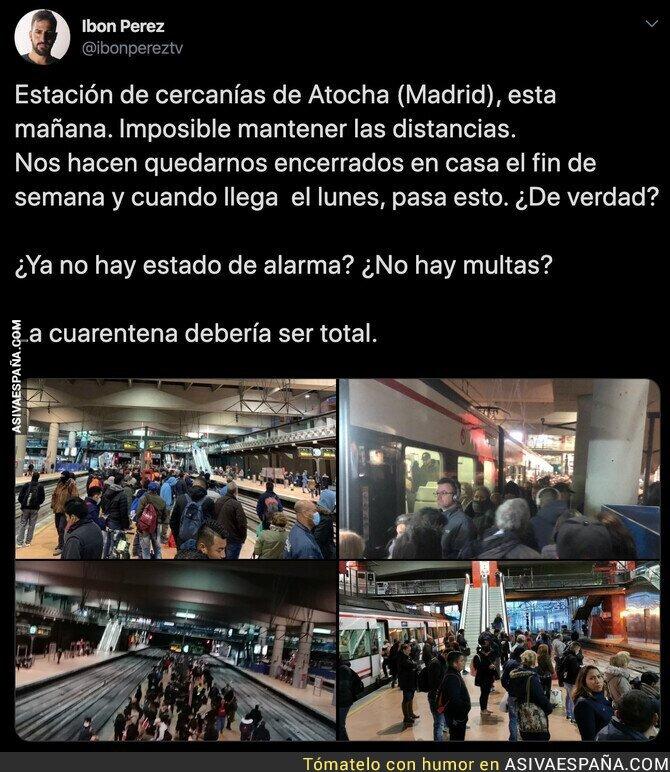 138212 - Vergüenza absoluta: así estaba Atocha ya de buena mañana el primer lunes de Estado de Alarma