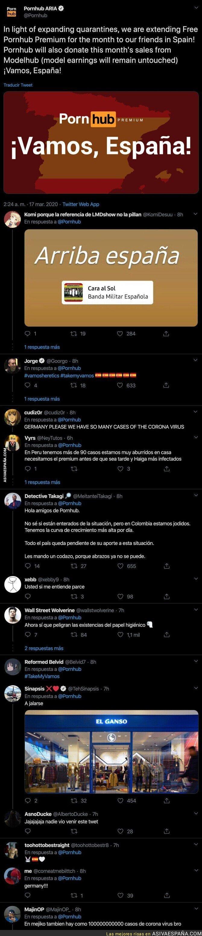 138377 - 'Pornhub' acaba de hacer un anuncio para toda España por el coronavirus que hará más llevadera la cuarentena a toda la población