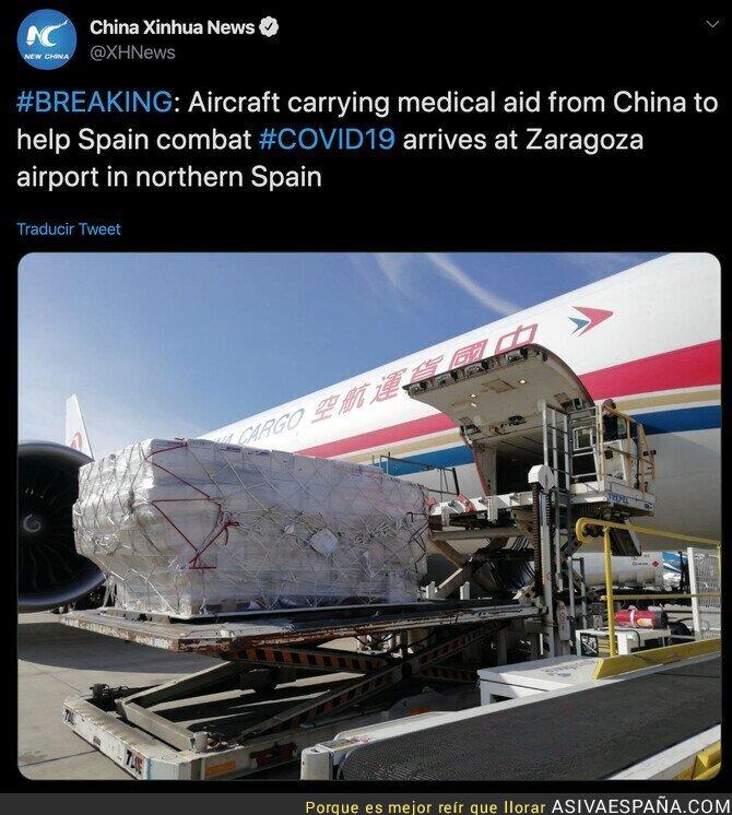 138506 - Me tengo que enterar por un medio chino las grandes ayudas que están llegando de China