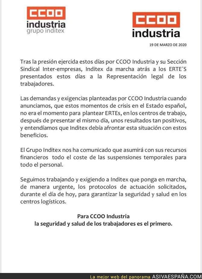 138919 - Para esto sirven los sindicatos. Amancio Ortega retira el ERTE después de la presión de sindicatos