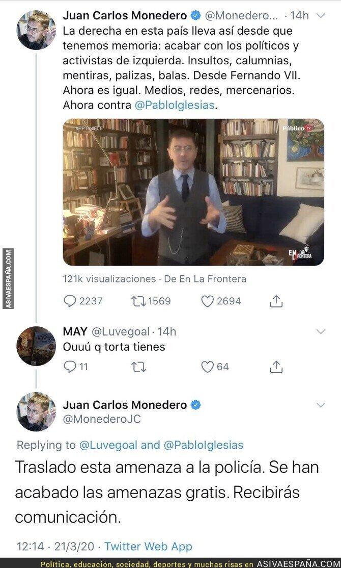 139083 - Juan Carlos Monedero se enfada porque le quieren pegar una 'torta' y le denuncia a la Policía
