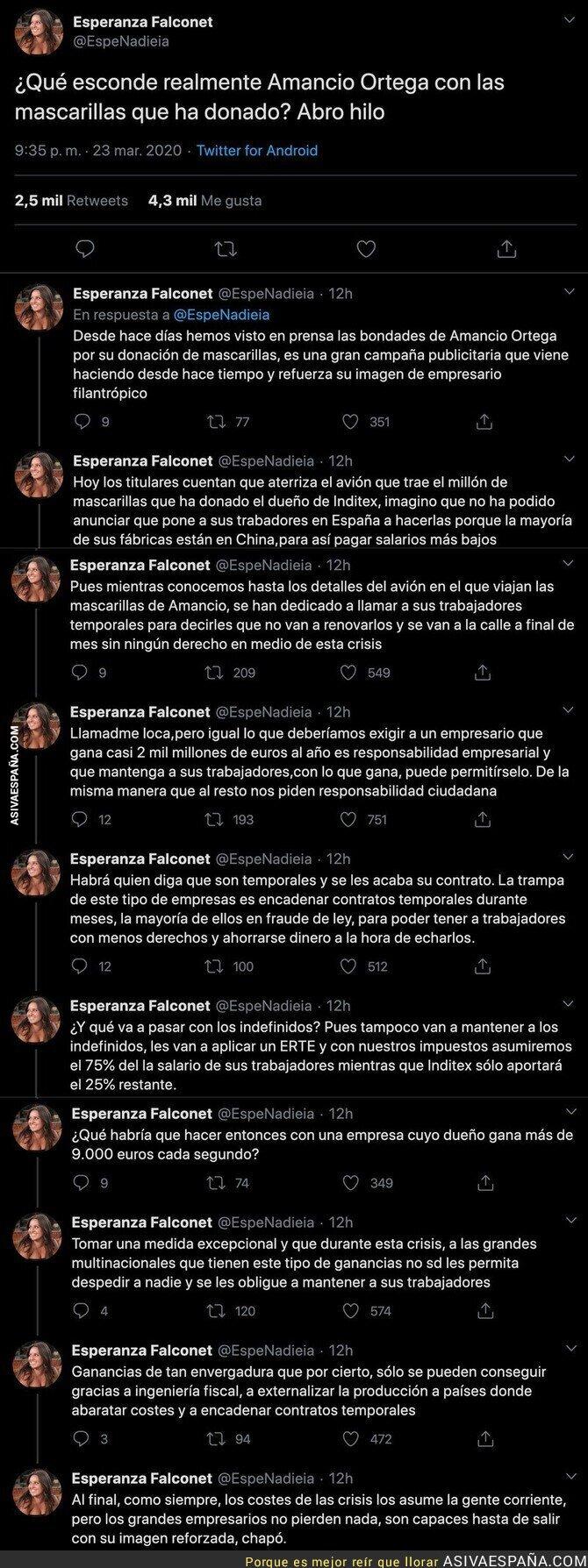 139400 - Todo lo que esconde las donaciones de mascarillas de Amancio Ortega por la crisis del coronavirus