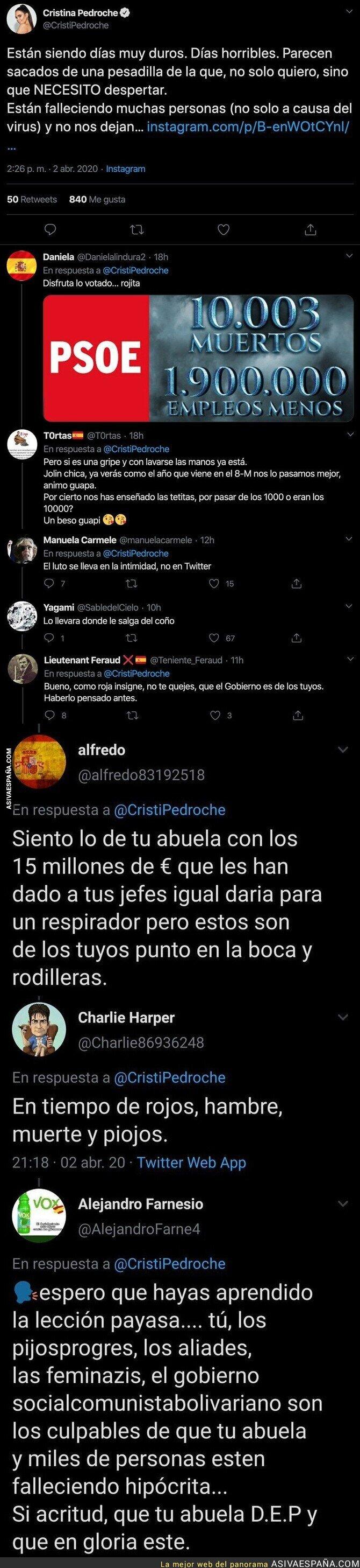 141623 - Cristina Pedroche anuncia que se ha muerto su abuela y la gente de derechas le está dejando todas estas respuestas totalmente miserables