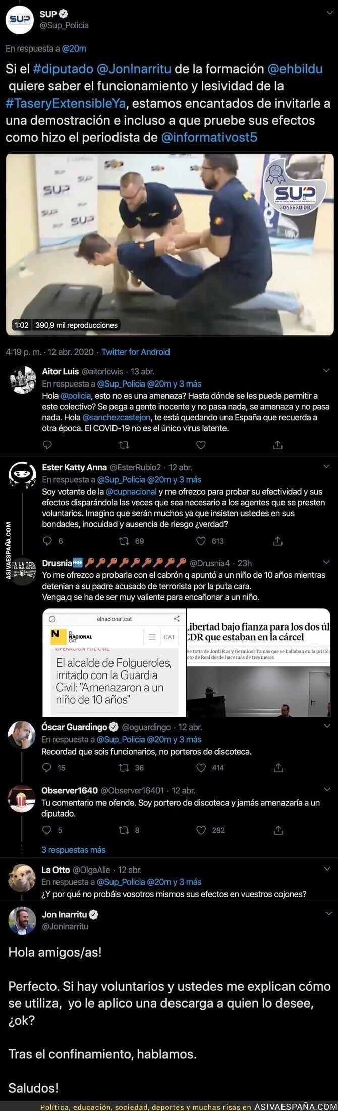 143810 - Tremendo: un sindicato policial amenaza con disparar al diputado Jon Iñarritu con este mensaje