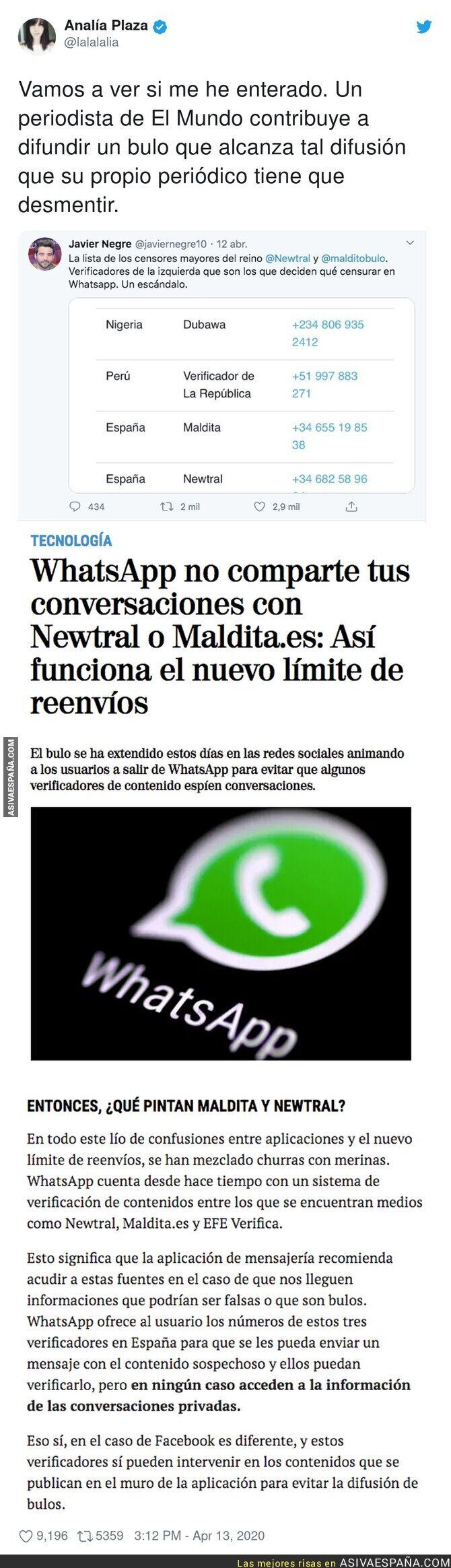 143850 - Javier Negre difunde un bulo sobre WhatsApp y el coronavirus y su propio diario le desmiente