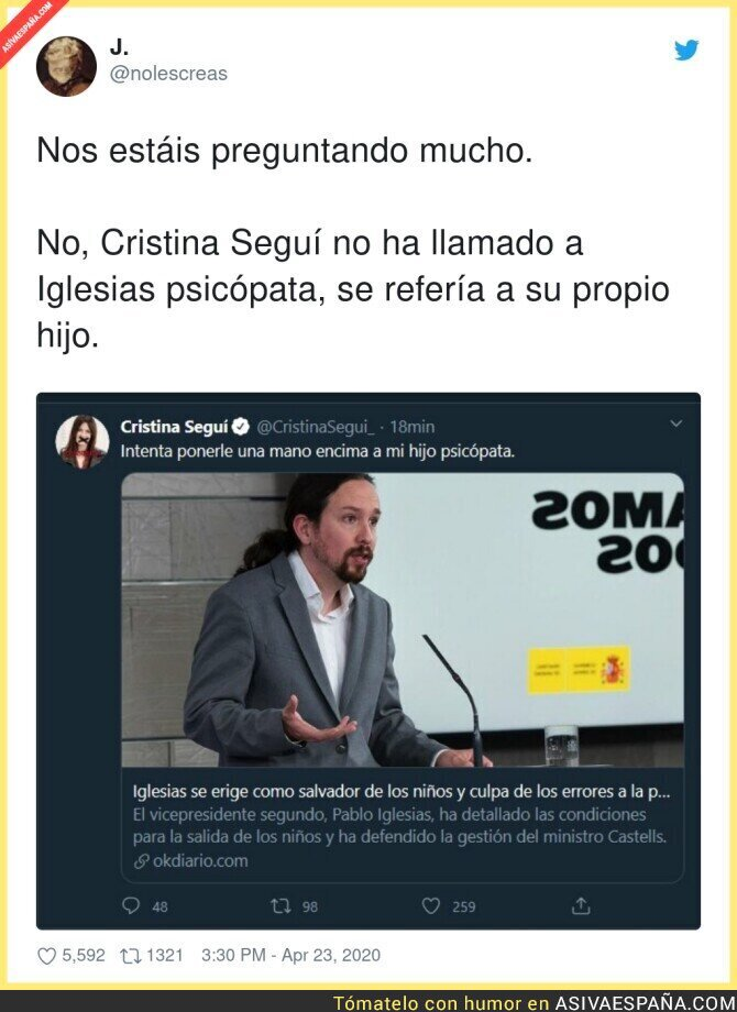 146087 - El primer tuit de Cristina Seguí que ha tenido que borrar por razones obvias