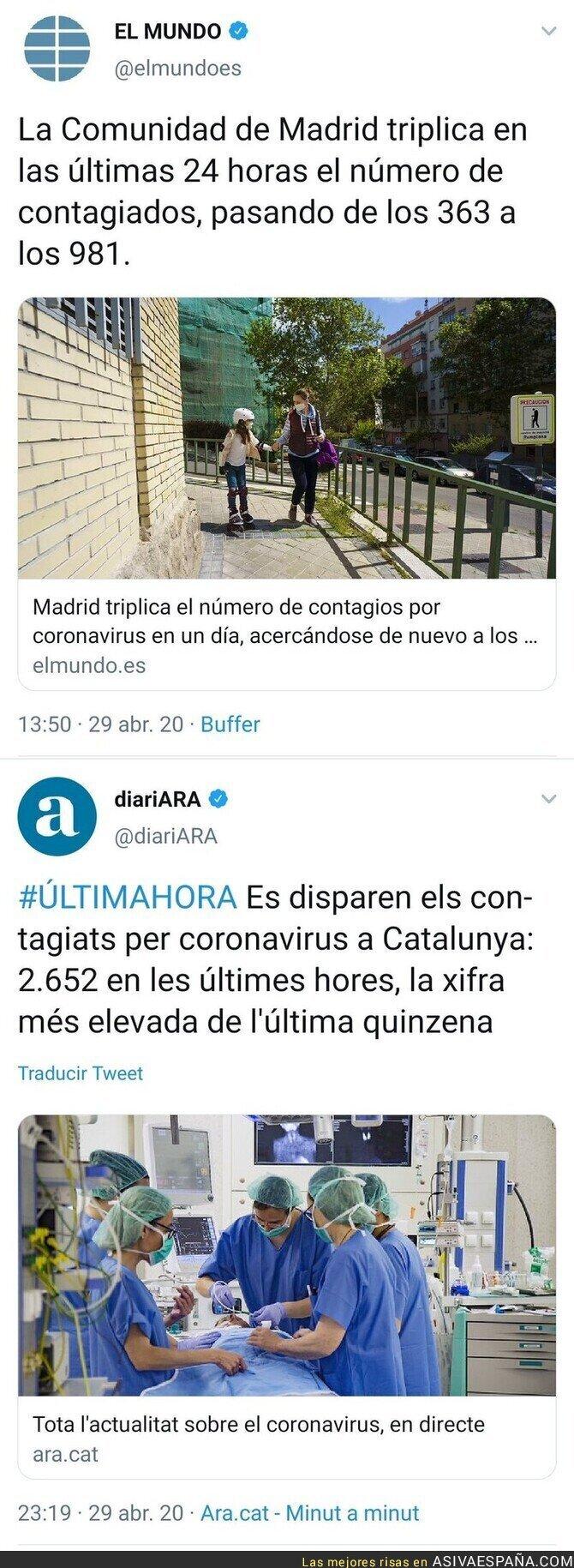 147071 - Se han disparado los contagios en Madrid y Catalunya. Dos semanas después del retorno al trabajo exigido por la Patronal y la derecha.