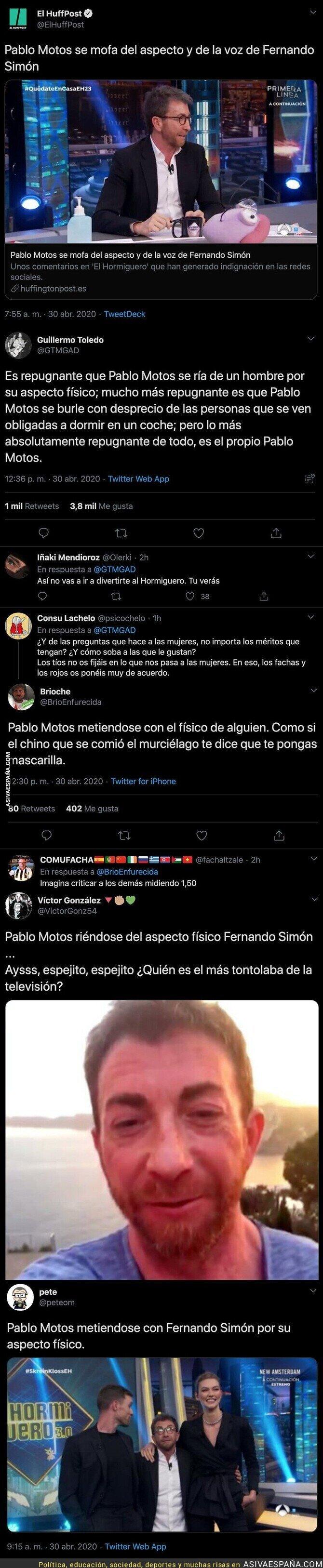 147095 - Todo el mundo está respondiendo con dureza a Pablo Motos tras meterse con el físico de Fernando Simón
