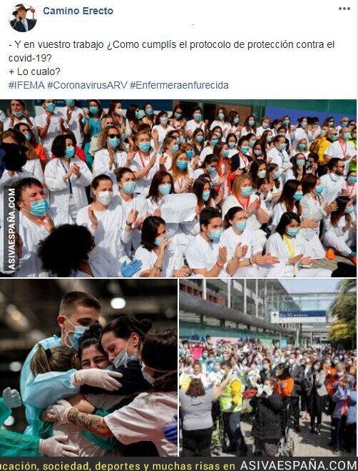147258 - Distanciamiento social de mínimo dos metros entre personas incumplido en IFEMA por los propios enfermeros