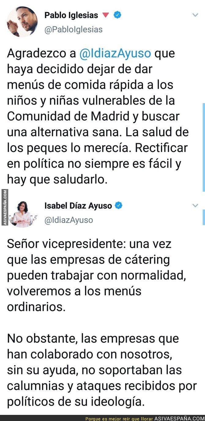 148126 - Pablo Iglesias alaba a Isabel Díaz Ayuso y ella misma se encarga en dejarse mal