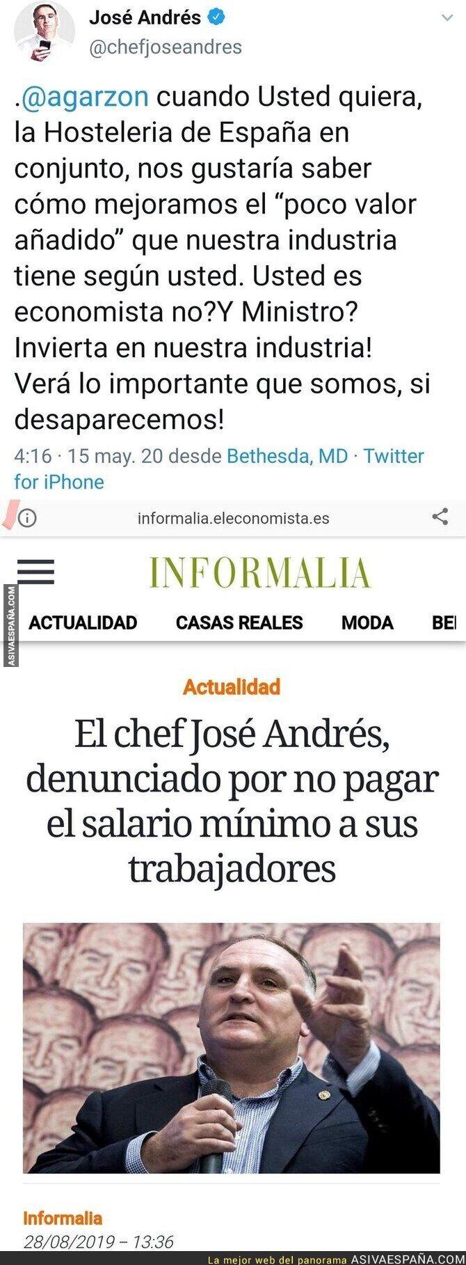 157815 - El chef José Andrés carga contra Alberto Garzón por su gestión en el Gobierno y le responden con una noticia que le deja retratado por completo