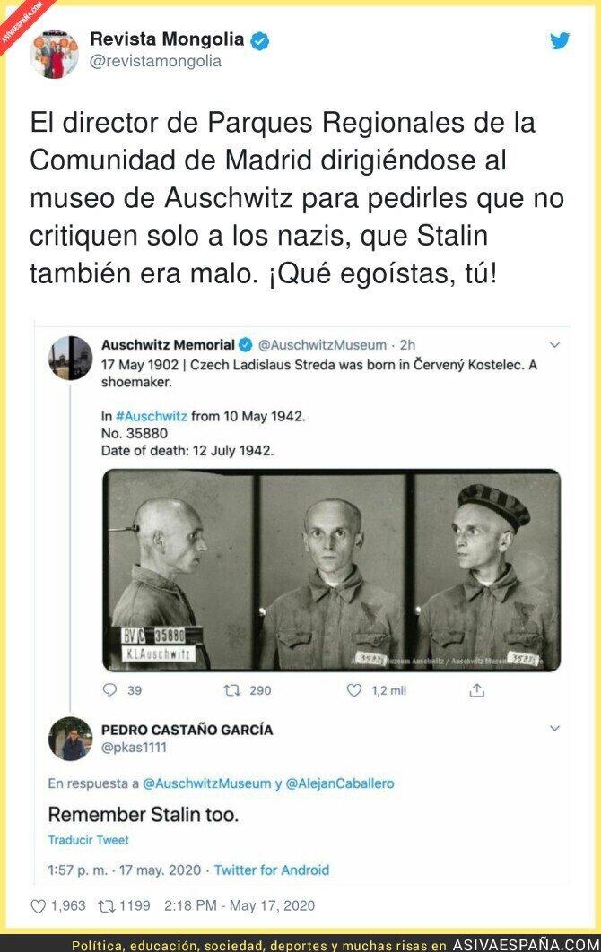 162066 - Este es el lamentable nivel de la Comunidad de Madrid y sus dirigentes respondiéndole esto al Memorial de Auschwitz