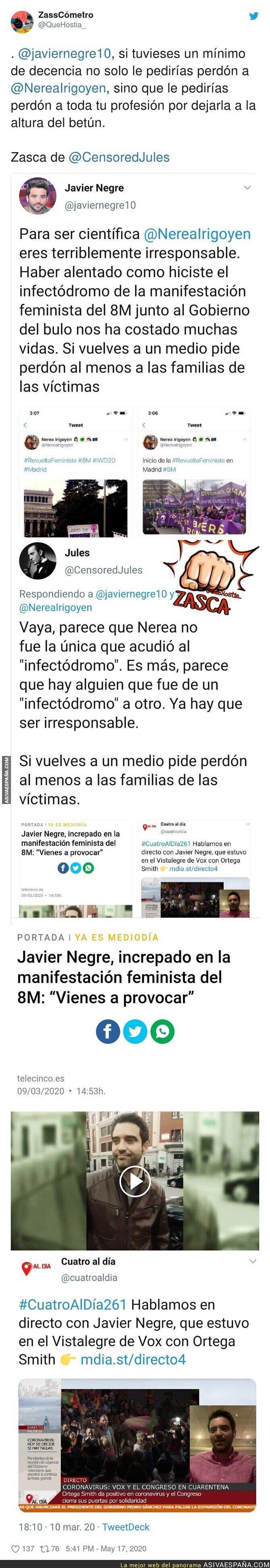 162403 - Escándalo: Así es como Javier Negre está acosando por redes sociales a la viróloga Nerea Irigoyen por haber acudido a las manifestaciones del 8M