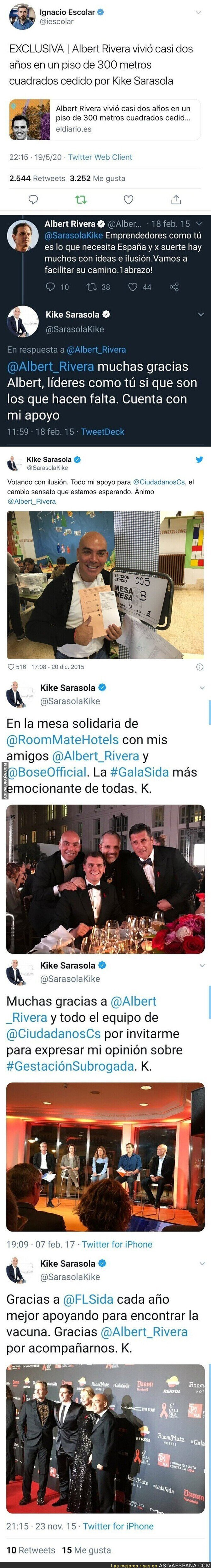 168013 - Ojo a todos los tuits que le dedicaba Kike Sarasola a Albert Rivera años atrás al saberse hoy que le cedió una casa de 300m2