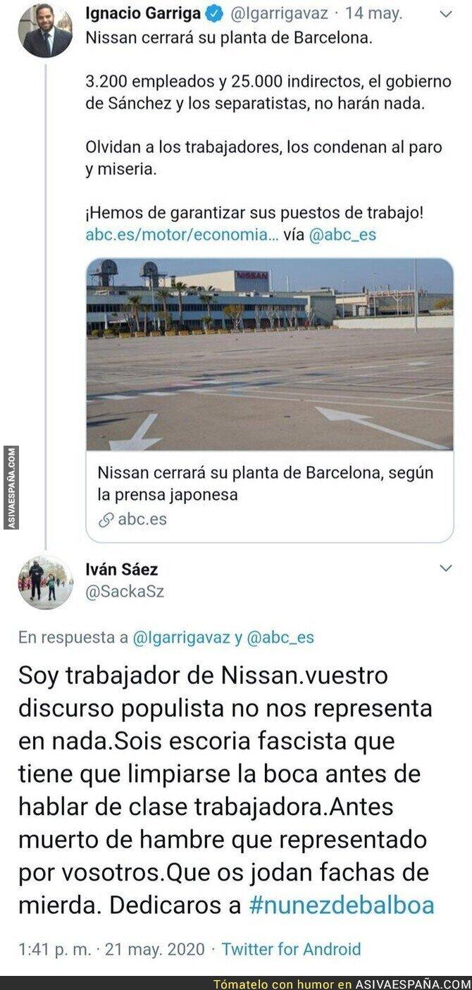 171889 - Un trabajador de Nissan sale al ataque contra Ignacio Garriga tras usar a su empresa para atacar al Gobierno de Pedro Sánchez