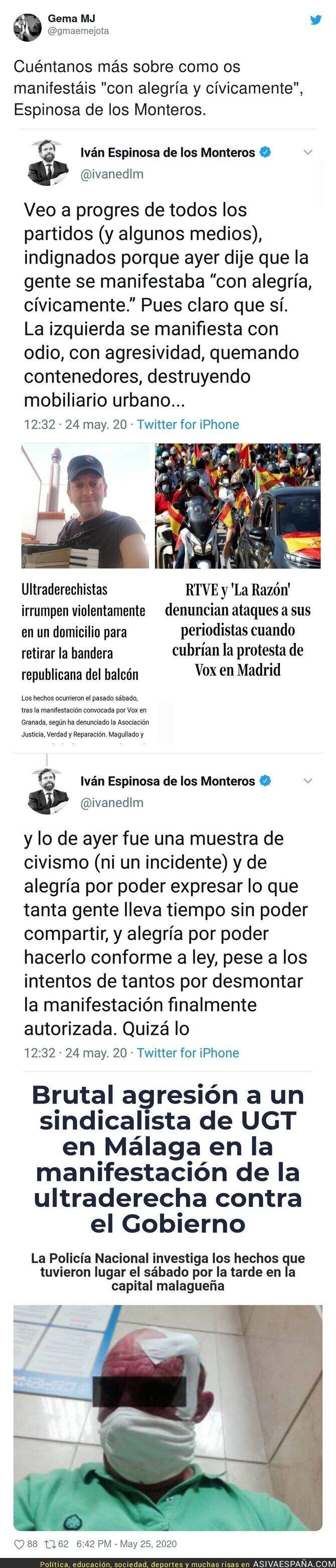 182011 - Que dice Iván Espinosa de los Monteros que cuando ellos se manifiestan es todo fiesta y sin problemas