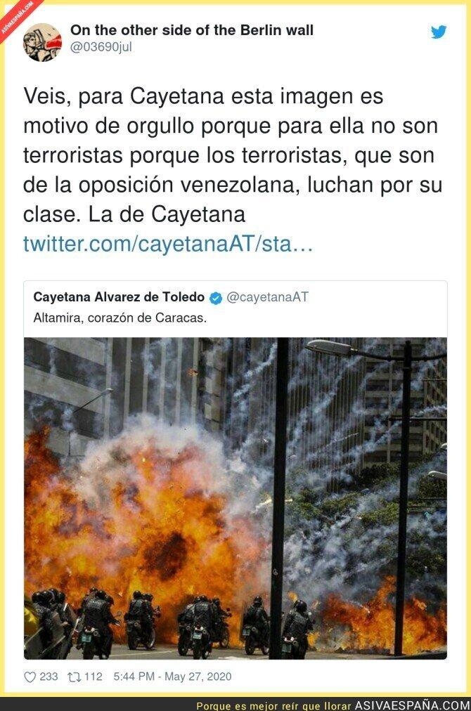 186448 - Cayetana llama terrorista al padre de Pablo Iglesias pero aplaude actos terroristas contra la policía venezolana de Chávez