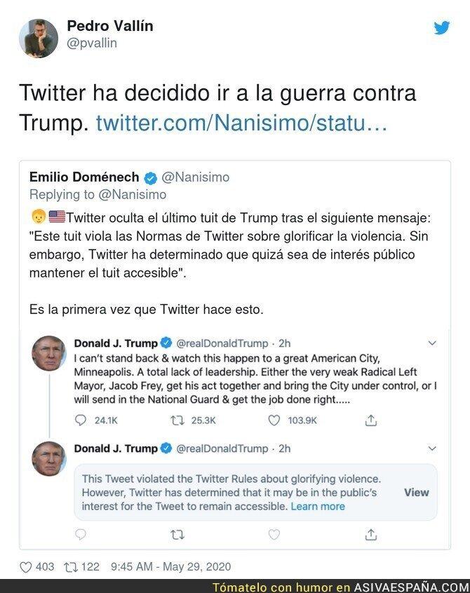 189997 - Twitter ha decidido aplicar sus propias reglas que modificó para permitir a Trump saltárselas una y otra vez