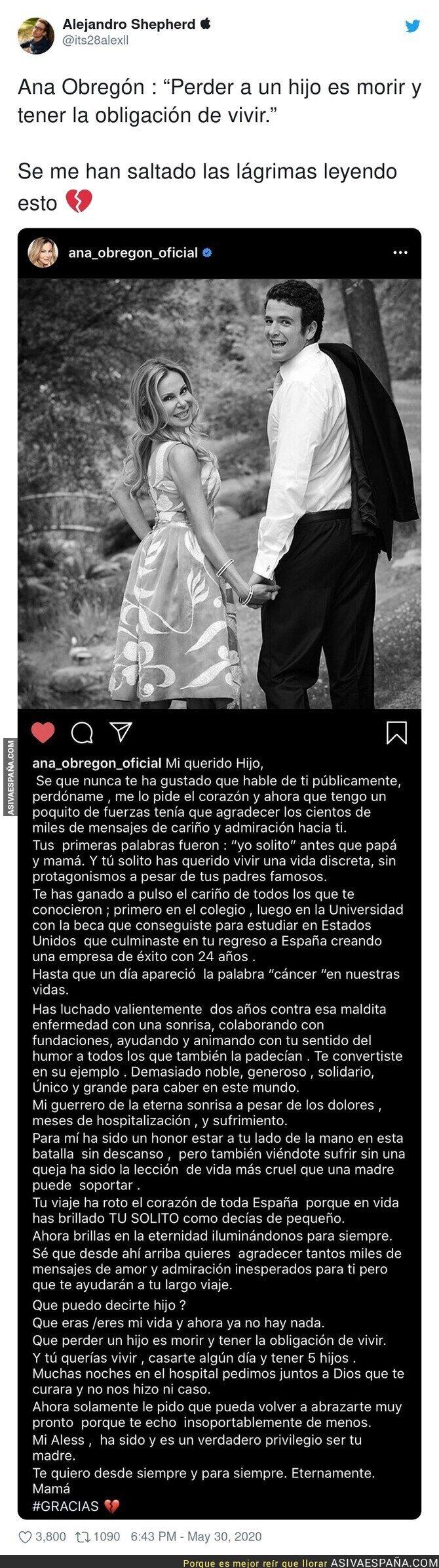 193240 - El precioso mensaje de Ana Obregón a su hijo recientemente fallecido que te hará emocionarte