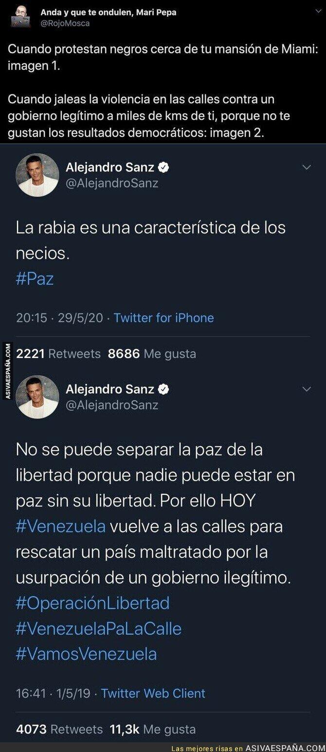 195116 - El doble rasero increíble de Alejandro Sanz cuando la gente que protesta es negra o son venezolanos contra su legítimo gobierno