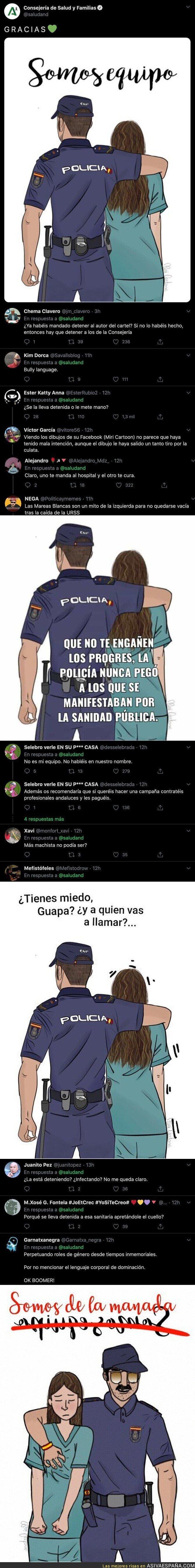 205861 - Atención al lío monumental por el dibujo que ha subido la Consejería de Salud y Familias de la Junta de Andalucía