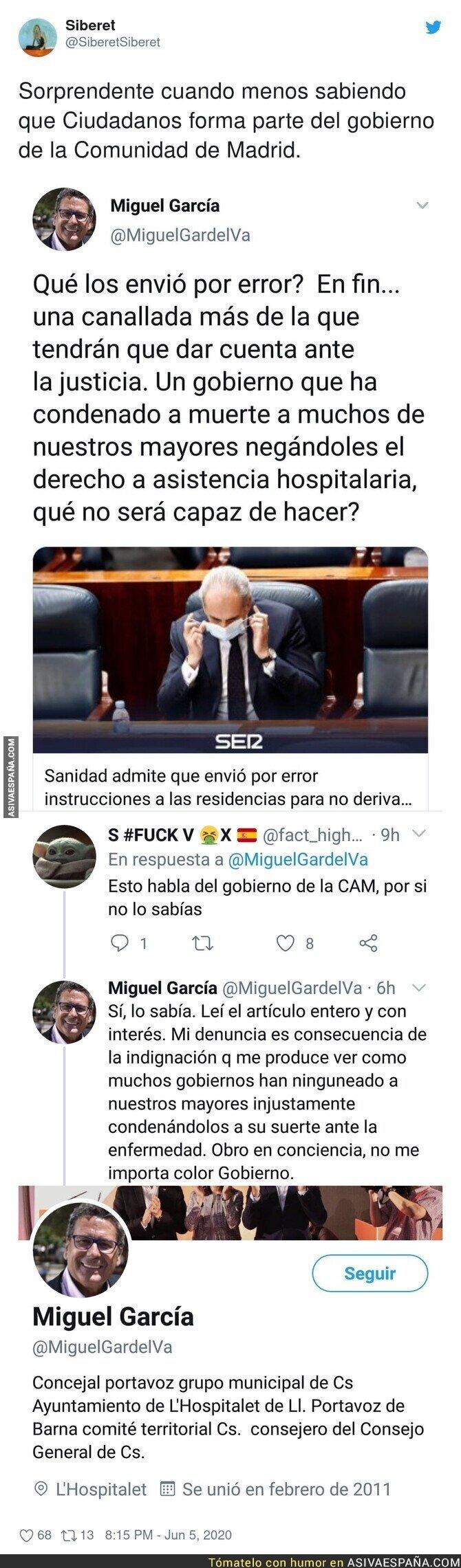 207584 - Miguel García de Ciudadanos en L'Hospitalet muy cabreado con la gestión del PP en Madrid