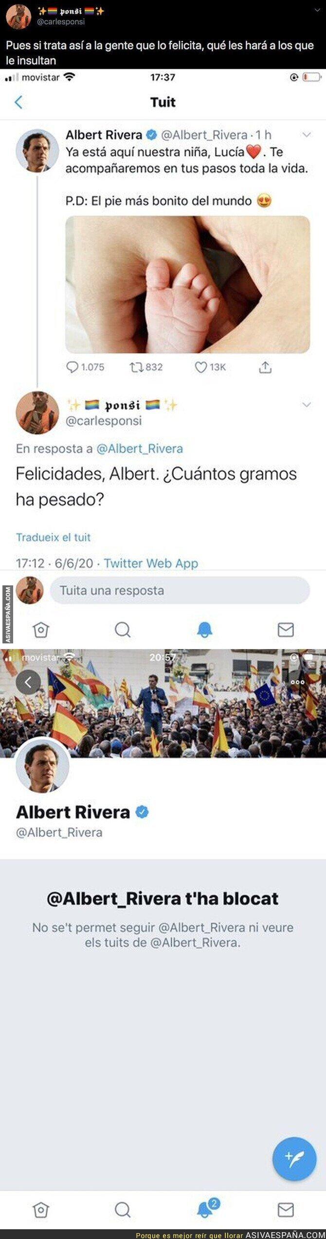 212189 - Albert Rivera anuncia el nacimiento de su hija y recibe una respuesta apoteósica por la que termina bloqueando al que se la hace por Twitter