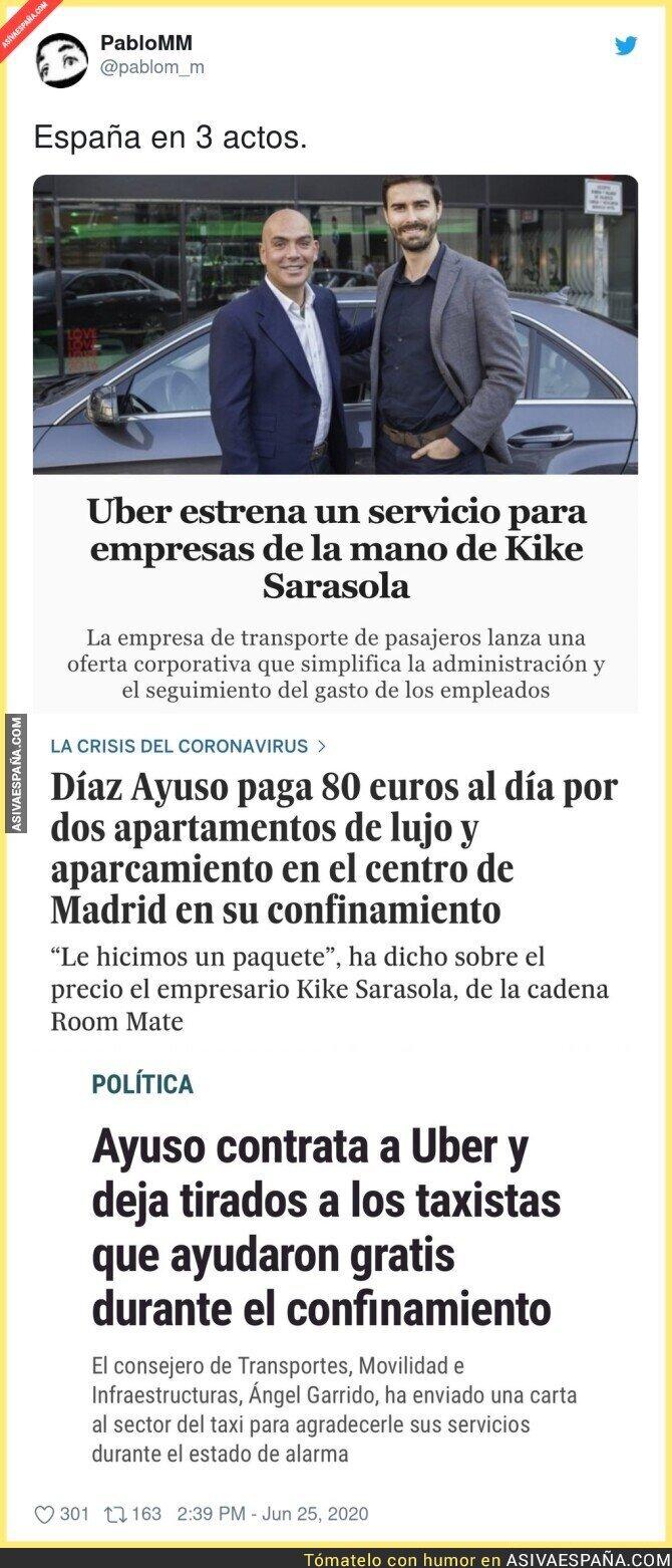 241507 - Los favores se pagan y estas tres noticias de Kike Sarasola, Uber e Isabel Díaz Ayuso lo dejan claro